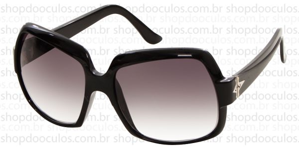 b8b36d7a3fea7 Óculos de Sol Evoke - Evoke Deja Vu Square Black Shine Silver Gray Gradient