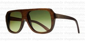 Oculos de Sol Evoke - Evoke Wood Series - 01 Dark Wood Laser Green Gradient