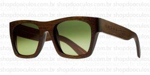 Oculos de Sol Evoke - Evoke Wood Series - 02 Dark Wood Laser Green Gradient